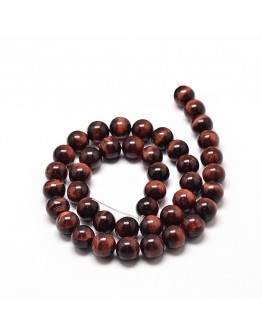 Natural Red Tiger Eye Round Bead Strands, UnDyed & Heated, 8mm, Hole: 1mm; about 49pcs/strand, 16""