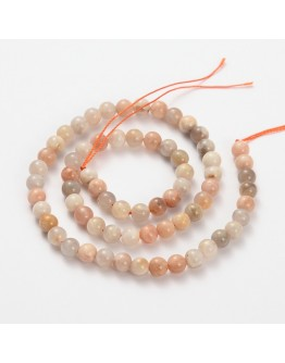Natural Gemstone Moonstone Round Beads Strands, 8mm, Hole: 1mm; about 52pcs/strand, 15.5""