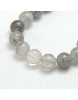 Natural Gemstone Cloudy Quartz Round Bead Strands, 8mm, Hole: 1mm; about: 48pcs/strand, 15.5""