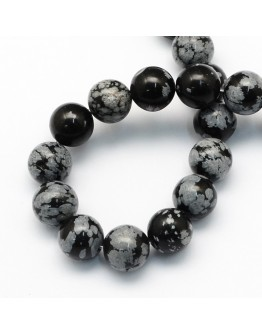 Natural Snowflake Obsidian Round Beads Strands, 8.5mm, Hole: 1.2mm; about 47pcs/strand, 15.5""