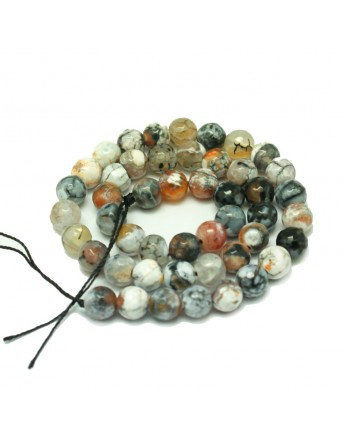 Natural Fire Agate Beads Strands, Round, Dyed, Snow, 8mm, Hole: 1mm; about 47pcs/strand, 15.35""