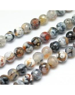 """Natural Fire Agate Beads Strands, Round, Dyed, Snow, 8mm, Hole: 1mm; about 47pcs/strand, 15.35"""""""
