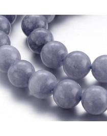 "Dyed Natural Quartz Round Bead Strands, Imitation Aquamarine, 8~9mm, Hole: 1mm; about 46pcs/strand, 15.3"""