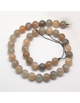 Natural Moonstone Beads Strands, Round, Moonstone, 8mm, Hole: 1mm; about 48pcs/strand, 15.7""
