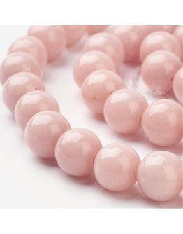 Natural Mashan Jade Round Beads Strands, Dyed, LightSalmon, 8mm, Hole: 1mm; about 51pcs/strand, 15.7""