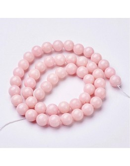 Natural Mashan Jade Round Beads Strands, Dyed, Pink, 8mm, Hole: 1mm; about 51pcs/strand, 15.7""