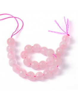 Natural Rose Quartz Beads Strands, Faceted, Round, Pink, 8mm, Hole: 1mm