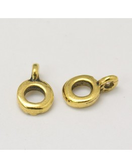 Tibetan Style Hangers, Bail Beads, Antique Golden, Lead Free and Cadmium Free, 6.5mm in diameter, 2mm thick, hole: 2mm