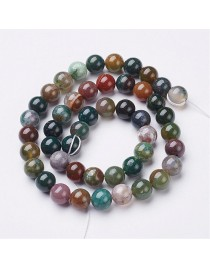 Gemstone Beads Strands, Natural Indian Agate, Round, about 8mm in diameter, hole: about 1mm, 15~16""