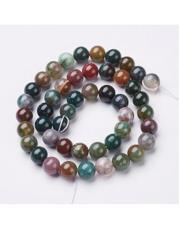 """Gemstone Beads Strands, Natural Indian Agate, Round, about 8mm in diameter, hole: about 1mm, 15~16"""""""