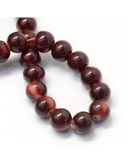 Baking Painted Glass Round Bead Strands, CoconutBrown, 8.5~9mm, Hole: 1.5mm; about 105pcs/strand, 31.8""