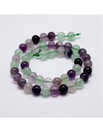 Natural Rainbow Fluorite Bead Strands, Round, 10mm, Hole: 1mm; about 38pcs/strand, 15''