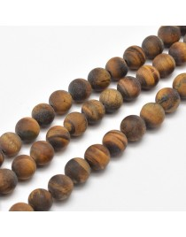 """Frosted Natural Tiger Eye Round Bead Strands, 10mm, Hole: 1mm; about 38pcs/strand, 15.5"""""""