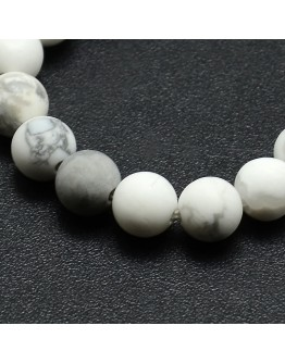 Frosted Howlite Round Bead Strands, 8mm, Hole: 1mm; about 47~49pcs/strand, 14.9~15.6""