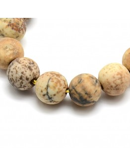 Frosted Natural Picture Jasper Round Bead Strands, 8mm, Hole: 1mm; about 47~49pcs/strand, 14.9~15.6""