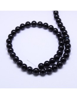 Natural Agate Round Beads Strand, Dyed, Black, 10mm, Hole: 1mm; about 38pcs/strand, 15.74""