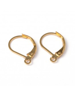 Brass Lever Back Hoop Earrings, Lead Free and Cadmium Free, Golden, about 10mm wide, 15mm long, hole: 1mm
