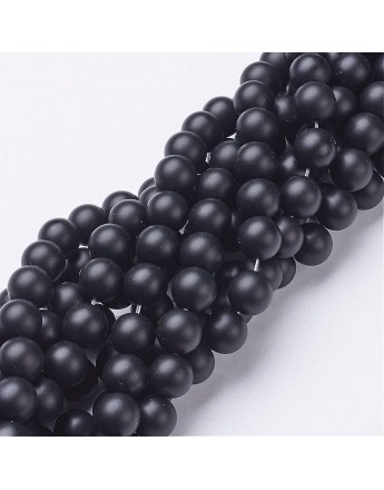 """Natural Black Agate Beads Strands, Grade A, Frosted, Round, Dyed & Heated, 8mm, Hole: 1mm; about 48pcs/strand, 15.5"""""""