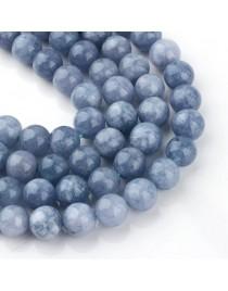 "Dyed Natural Quartz Round Bead Strands, Imitation Aquamarine, 10~11mm, Hole: 1mm; about 37~39pcs/strand, 15.7"""