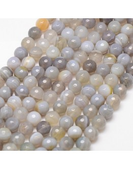 Natural Striped Agate Beads Strands, Faceted, Round, Gainsboro, 10mm, Hole: 1.2mm