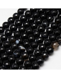 Natural Black Striped Agate Beads Strands, Faceted, Dyed, Round, Black, 10mm, Hole: 1.2mm, about 38pcs/strand, 15""