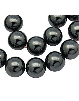 Non-Magnetic Synthetic Hematite Beads Strands, Round, Black, 8mm, Hole: 1.5mm; about 53pcs/strand