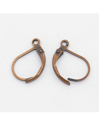 Brass Lever Back Hoop Earrings, Lead Free and Cadmium Free, Red Copper, Size: about 10mm wide, 15mm long, hole: 1mm