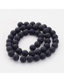 Grade A Round Frosted Black Agate, Natural Gemstone Beads Strands, 8mm, Hole: 1.2mm; about 48pcs/strand, 16""