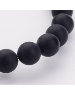"""Grade A Round Frosted Black Agate, Natural Gemstone Beads Strands, 8mm, Hole: 1.2mm; about 48pcs/strand, 16"""""""