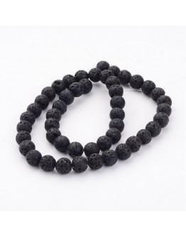 """Natural Lava Beads Strands, Black, Round, 8mm, Hole: 1mm; about 47pcs/strand, 15"""""""
