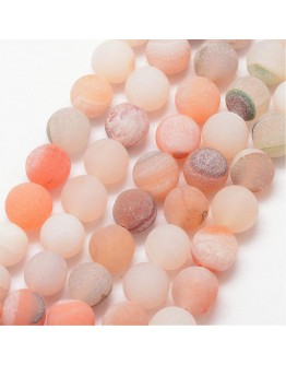 """Natural Agate Bead Strands, Frosted, Round, Dyed & Heated, PeachPuff, 10mm, Hole: 1mm; about 37pcs/strand, 15"""""""