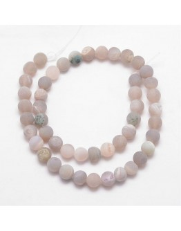 Natural Agate Bead Strands, Frosted, Round, Dyed & Heated, Tan, 10mm, Hole: 1mm; about 37pcs/strand, 15""