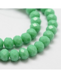 Glass Beads Strands, Faceted Abacus , MediumSeaGreen, 8x6mm, Hole: 1mm; about 72pcs/strand, 17""