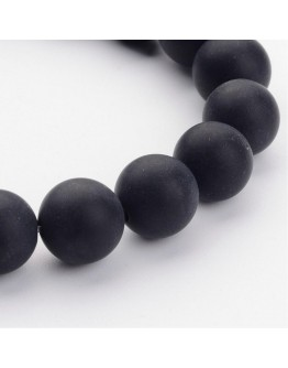 Grade A Round Frosted Black Agate, Natural Gemstone Beads Strands, 10mm, Hole: 1mm; about 39pcs/strand, 16""