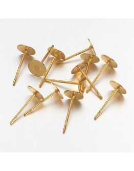 Brass Earstud Components, Golden, 11x6.5x6x0.8mm