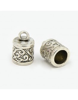 Tibetan Silver Pendants, Tubbish, Lead Free and Cadmium Free, Antique Silver, about 13mm long, 8.5mm thick,hole: 6mm