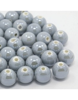 Handmade Porcelain Beads, Pearlized, Round, DarkGray, 14mm, Hole: 2mm