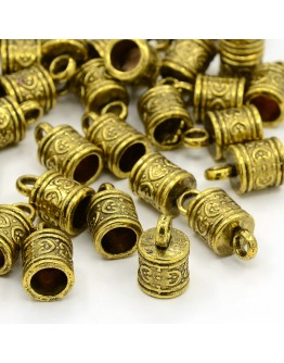 Alloy Cord Ends, Terminators, Lead Free & Cadmium Free, Antique Golden, 16x9mm, Hole: 3mm; 6.5mm inner diameter.