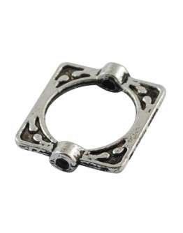Tibetan Style Alloy Bead Frames, Lead Free & Cadmium Free, Rectangle, Antique Silver, 16x14x3mm