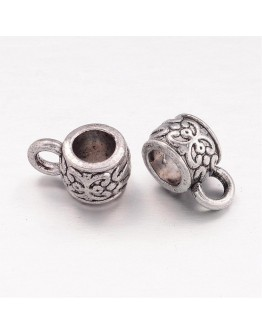 Tibetan Style Hangers, Bail Beads, Lead Free & Nickel Free, Antique Silver, 11x6x7mm, Hole: 3~4mm