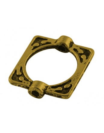 Tibetan Style Alloy Bead Frames, Lead Free & Cadmium Free, Rectangle, Antique Golden, 16x14x3mm