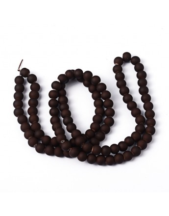 Painted Glass Bead Strands, Rubberized Style, Round, CoconutBrown, 8mm; Hole: 1.3~1.6mm; about 100pcs/strand, 31.4""