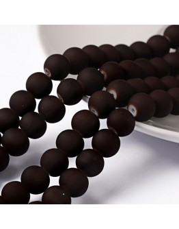 """Painted Glass Bead Strands, Rubberized Style, Round, CoconutBrown, 8mm; Hole: 1.3~1.6mm; about 100pcs/strand, 31.4"""""""