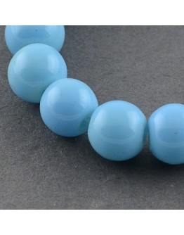 Painted Glass Bead Strands, Baking Paint, Round, LightSkyBlue, 10mm; Hole: 1.3~1.6mm, about 80pcs/strand, 31.4""