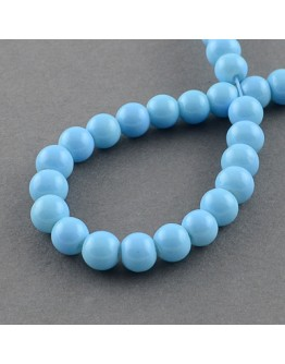 """Painted Glass Bead Strands, Baking Paint, Round, LightSkyBlue, 10mm; Hole: 1.3~1.6mm, about 80pcs/strand, 31.4"""""""