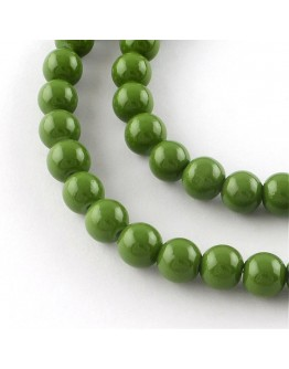 Painted Glass Bead Strands, Baking Paint, Round, OliveDrab, 10mm; Hole: 1.3~1.6mm, about 80pcs/strand, 31.4""