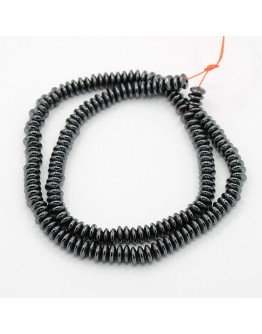 Non-Magnetic Synthetic Hematite Beads Strands, Rondelle, Black, 6.5x2mm, Hole: 1mm; about 145pcs/strand, 16.5""