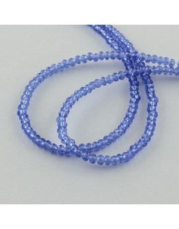 """Transparent Glass Beads Strands, Faceted, Abacus, RoyalBlue, 3x2mm; Hole: 0.5mm, about 200pcs/strand, 16.7"""""""