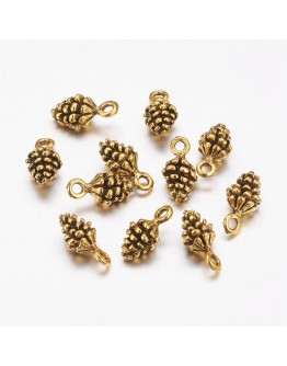 Tibetan Style Pendants, Lead Free, Antique Golden Color, Pine Cone, 13x7x5.5mm, Hole: 2mm