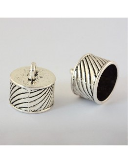 Tibetan Style Alloy Cord Ends, Cadmium Free & Nickel Free & Lead Free, Antique Silver, 16x16mm, Hole: 4mm; about 250pcs/1000g